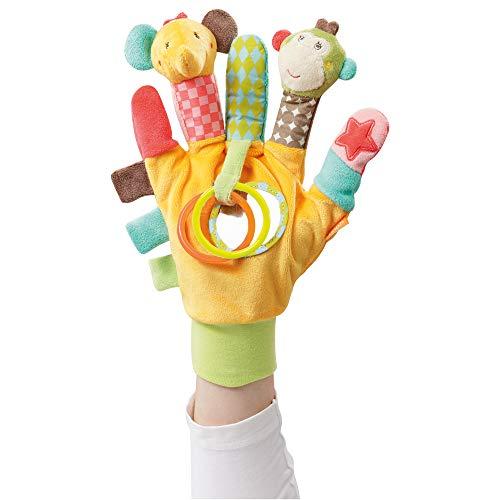 Fehn 074604 Spielhandschuh Safari – Fingerpuppen-Handschuh Affe und Elefant mit Rassel und Quietsche für Babys und Kleinkinder ab 0+...