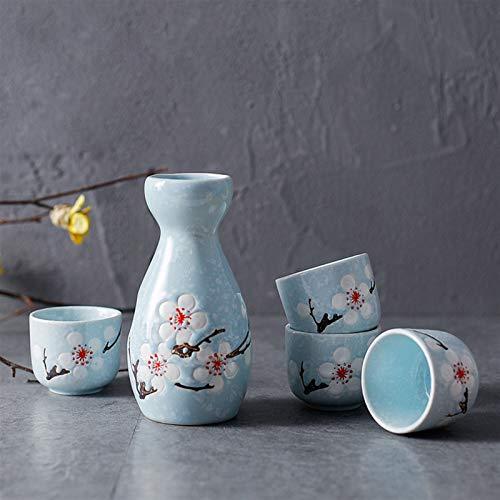 Set de sake Conjunto de cerámica tradicional de 5 piezas con 1 botella de senderos de sake y 4 tazas de sake cadera matraz (Color : Blue)