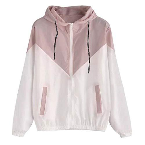 Sweatshirt Damen Casual Running Atmungsaktive Reißverschlusstasche Langarm Herbst Trend Classic All-Match Damen wasserdichte Jacke Damen Hoodie Pink_ XXL