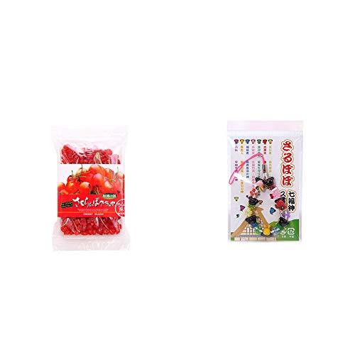 [2点セット] 収穫の朝 さくらんぼグラッセ ラム酒風味(180g)・さるぼぼ七福神ストラップ / 縁結び・魔除け //