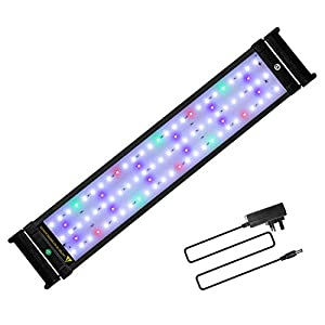 JOYHILL LED Full Spectrum Aquarium Lights, Fish Tank Light with Extendable Brackets,Suitable for Aquatic Reef Coral Plants and Fish Keeping 16W (Fit 50cm-70cm/20-28 inch)