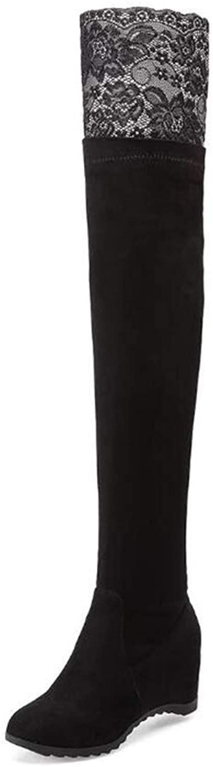 New Women's shoes, Fall Winter Fashion Boots,Comfort Flat Heel Over-Knee Boots, Ladies High Knight Boots, for Office & Career Party & Evening (color   Black, Size   39)