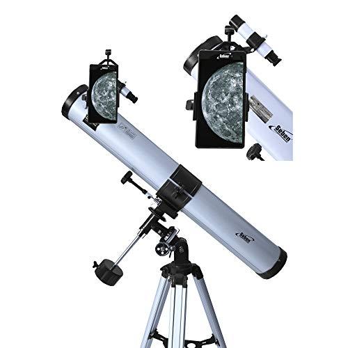 Seben Teleskop 76/900 EQ-2 - Spiegelteleskop für die Astronomie inkl. Smartphone Adapter, Montierung, Okular Filter Set