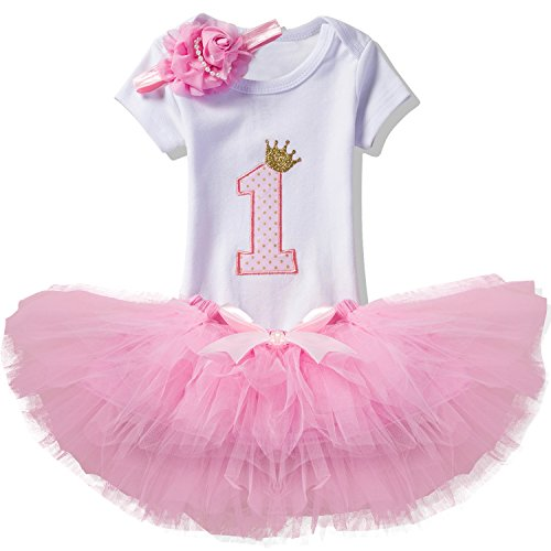 NNJXD Girl Newborn Crown Tutu 1st Birthday 3 Pcs Outfits Romper+Dress+ Headband Size (1) 1 Year Pink