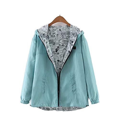 Q-QQ9 Spring Women's Two Sides Wear Loose Large Size Student Jacket Women's Hooded Jacket Small Coat*Green*L Mmm