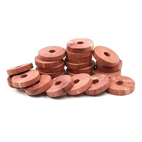 Legno di cedro, repellente per tarme naturale, anti-tarme, blocchi di cedro, accessori per riporre vestiti, anelli di cedro, armadi, cassetti, deodorante, anelli per gancio (30 pezzi)