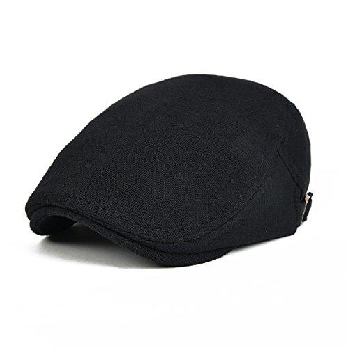 VOBOOM Men Newsboy Cap Cotton Flat Ivy Gatsby Driving Hat (Black)