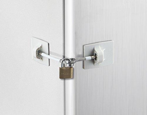 Refrigerator Door Lock with Padlock - White