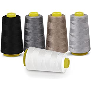 100% Polyester Overlocking Sewing Machine Thread for Serger 5 Colours 3000 Yard Cones:Interdir
