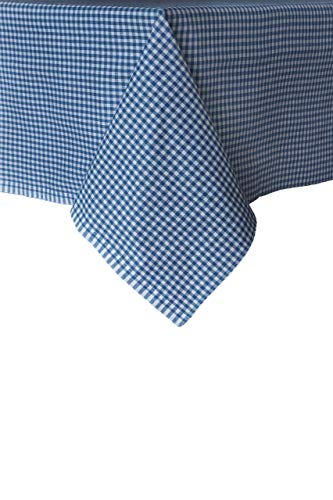 Madame Gayda Tablecloth Checkered Mini Gingham Linen 100% Cotton (Blue, 64x66 inches)