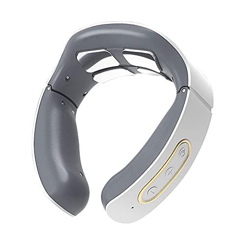 Abnaok - Masajeador cervical eléctrico inteligente para cuello con 6 modos y 9 niveles de potencia para 4 funciones de calentamiento, dispositivo de masaje para espalda y cuello