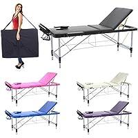 Camilla de masaje profesional 3 zonas de aluminio, 195 x 70 cm - mesa de masaje, cama para cosmetólogo esteticista, estetica terapia,Tattoo,portátil plegable nuevo Reiky (negro)
