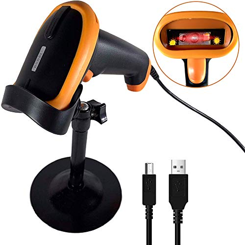 Buy Radall Barcode Scanner - USB Wired Barcode Scanner with Stand - Handheld Reader for Bar QR Codes...