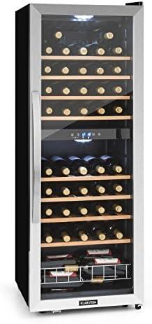 KLARSTEIN Vinamour - Nevera para vinos, Nevera para Bebidas, Refrigerador gastronomía, 2 Zonas, Iluminación LED, Módulo Independiente, Silencioso, Acero INOX, 54 Botellas, 8 Baldas, 148 L, Plateado