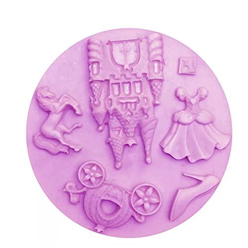 ANGYANG DIY Vestido de Princesa de Hadas/Castillo/Zapatos/Caballo/Calabaza moldes de Silicona para Coche moldes de Herramientas de decoración de Pasteles para niñas