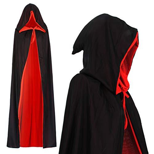 papapanda Vampir Kapuze Wendeumhang Schwarz Rot für Kinder oder Erwachsene Halloween Dracula Cosplay 130cm Umhang