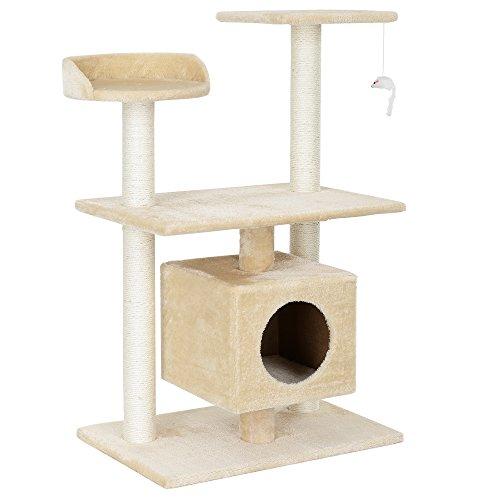 [en.casa] Katzen Kratzbaum (ca. 60 x 40 x 95 cm)(Creme) Kuschelhöhlen/Aussichtsplatformen/Sisal/mit vielen Spiel - und Kuschelmöglichkeiten