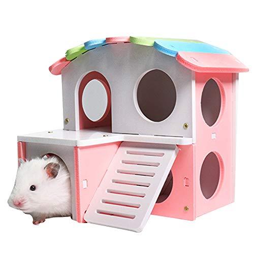 XXDYF Haus Hamster Hütte Spielplatz aus Holz mit Kletterturm, Übungsspielzeug, Versteck Villa Spaß, Fitness-Spielplatz Für Hamster, Eichhörnchen, Rennmäuse, Goldene Bären,Rosa