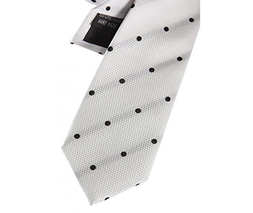 Coffret Honolulu - Cravate slim blanche à pois noirs et rayures noires en transparence, boutons de manchette, pince à cravate, pochette de costume