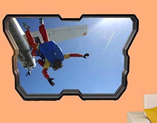 HQQPA Póster de pegatinas de pared 3D Sky Jump Plane Etiqueta de la pared Póster Artístico Decoración de la habitación Calcomanía Mural Smashed Wall Decal Gráfico