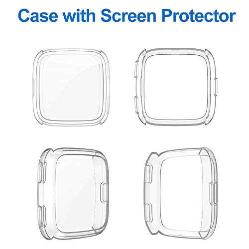 CAVN Screen Protector Case Compatible with Fitbit Versa (Not for Versa 2 & Versa Lite), [2 Packs] TPU Plated Bumper Shell Rugged Cover Full-Cover Scratch-Proof Protective Cover for Versa Smart Watch