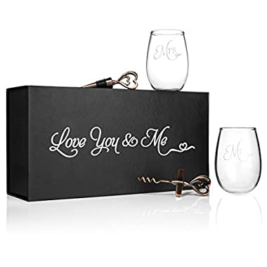 Mr. and Mrs. Wine Glasses with Opener and Stopper in a keepsake box