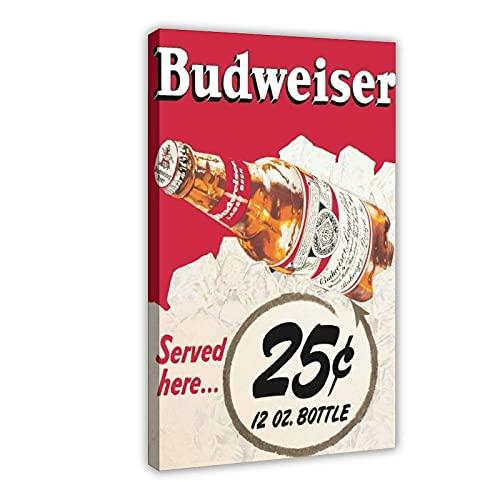 Budweiser Sprout Beer Bottle Póster de lona para decoración de pared, para sala de estar, dormitorio, marco de decoración, 20 x 30 cm