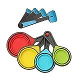 BESTONZON 8 stücke Faltbare Tragbare Silikon Messbecher und Löffel Set Küche Messwerkzeug für Flüssigkeit Trocken Messen (blau)