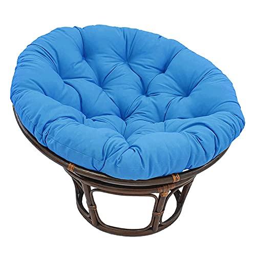 Papasan Cojín para silla de patio Cojines para asiento de huevo al aire libre Cojín para columpio de hamaca de huevo para colgar en el patio grueso y mullido 100cm SILLA NO INCLUIDA: (Color: azul)