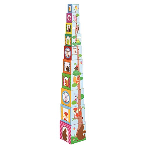 Lelin Lot de 10 cubes empilables en carton - Animaux de la forêt - Jouets éducatifs pour enfants
