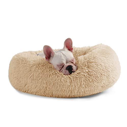 Veehoo Luxuriöses Kunstfell Erwärmen Hundebett, Sanft Tierbett für Klein, Mittelgroße, Grosse Hunde & Katze, Runden Katzenbett Waschbar, S, Aprikose