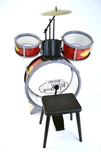 Bontempi 51 4504 Schlagzeug: Baßtrommel Ø 385 mm mit Pedal. 2 kleine Trommeln Ø 170 Becken Ø 210 mm. 2 Schlagstöcken. Echte Sounds. Inkl. Hocker. Maße: 500x500x680 mm