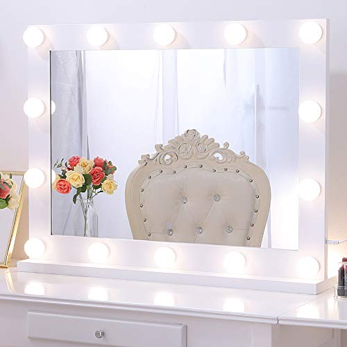 Wellmet Hollywood Vanity Mirror with Lights, White Dressing Table Mirror with Smart Dimmable Touch, Large Professional Light Up Makeup Mirror with 3-Color Lighting Modes for Bedroom (80cm X 60cm)