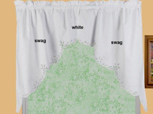 "Creative Linens Battenburg Lace Kitchen Curtain 38"" L Swags White"