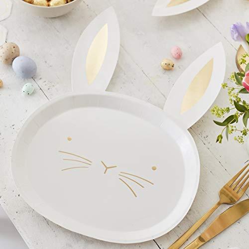 Ginger Ray Paquete de 8 platos de cara de conejo de papel de Pascua dorados, color blanco