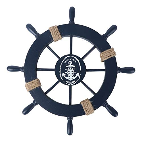 Rosenice Schiff-Steuerrad, Holz, Maritimes Dekor, Wand-Dekoration zum Aufhängen, holz, dunkelblau
