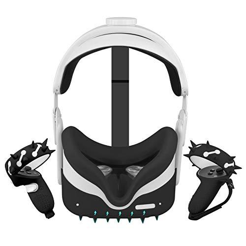 Oculus Quest 2-Zubehör (Kopfschutz Abdeckung+Griff Abdeckungen für Controller + Silikon-Gesichtsabdeckung usw.),Wasserdichte Anti-Schock-Anti-Rutsch-Abdeckung,Komfortable Berührung