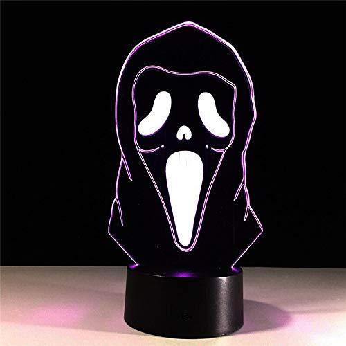 jiushixw 3D acryl nachtlampje met afstandsbediening kleur tafellamp Halloween Face Magic Change kinderkamer tafellamp goud staal