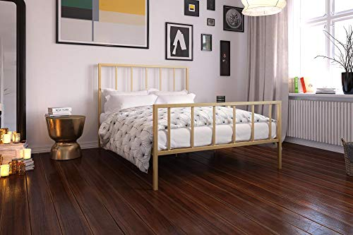 DHP Stella Bed with Metal Frame, Gold, Queen