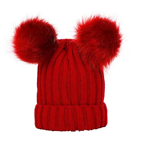 AIni Jungen Mädchen Winter Normallack-Strickmütze Beanie Mütze Haarballen Warme Kappe Unisex