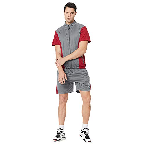 Chándal deportivo de 2 piezas para hombre, conjunto de deporte de manga corta, suéter para verano, tiempo libre, traje de jogging, chándal, camiseta y pantalones 5,Gris S