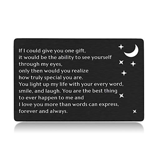 Husband Boyfriend Wallet Insert Card Gifts for Him Her Anniversary Birthday Wedding Card Gifts from Wife Girlfriend Hubby Valentines Day Engagement I Love You Gifts for Men Fiance Christmas Presents