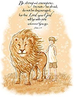 Be Strong and Courageous Wall Art for Boys - Aslan inspired art - Narnia