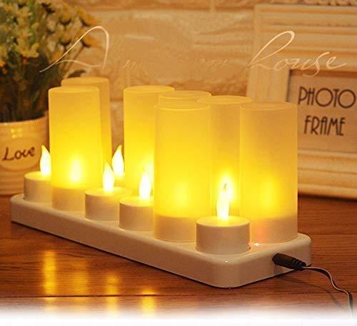 iTemer Kabellose Teelichter 12er LED Flammenlose Wiederaufladbare Teelichter Kerzen LED-Weihnachtskerzen Kerzenlichter mit Ladestation für Party Hochzeit Hausgarten Outdoor Innendekoration