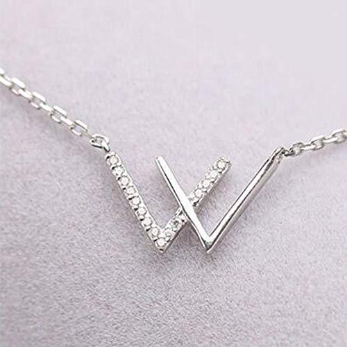 Pendientes Mujer S925 Cadena De Clavícula con Letras De Plata Esterlina Diamante De Imitación Collar De Moda Simple Regalos