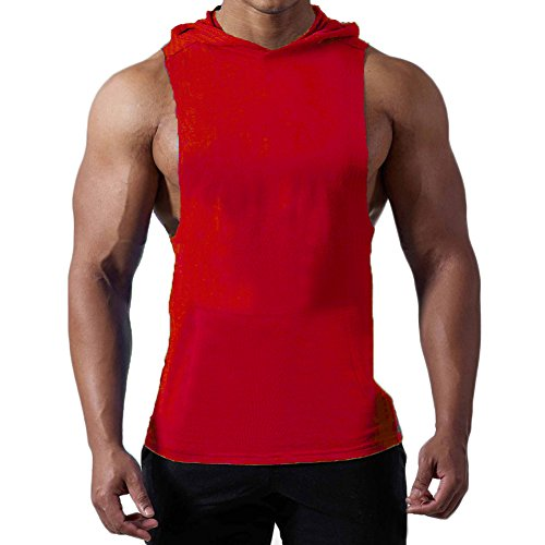 Magiftbox Mens Workout Hooded Tank Tops Sleeveless Gym Hoodies with Kanga Pocket Cool and Muscle Cut T187_red_US-L/Asian XL