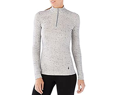 Smartwool Women's Base Layer Top - Merino 250 Wool Pattern Active 1/4 Zip Outerwear Winter White Donegal Medium