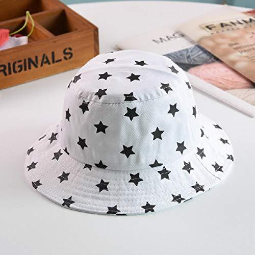 Dthlay Hüte Hut Fünfzackiger Stern Jungen und Mädchen Eimer Hut Kinder Sonnenhüte Faltschutz Niedliche Mützen-Weiß_One_Size