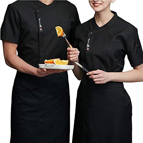 GAOSHENGWUJINGD Chef Coat Men Women Unisex Men Professional Restaurant Top Chef Uniform Kitchen Cooking Workwear Jacket Catering Waiter Overalls Outfits (Color : Black, Size : B(L))