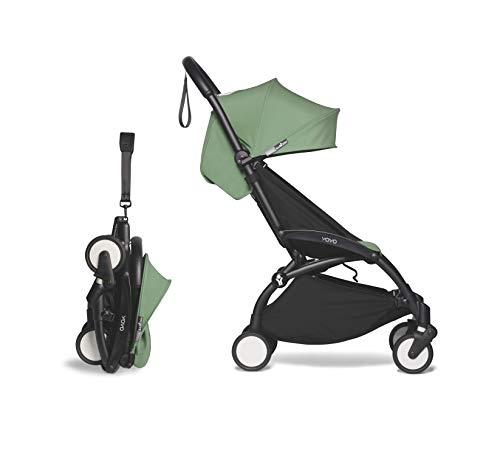 BABYZEN YOYO2 6+ Stroller - Black Frame with Peppermint Seat Cushion & Canopy